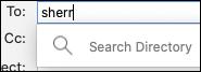 Mac 版 Outlook 中的 [搜尋目錄] 欄位。