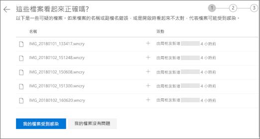 請執行這些檔案的外觀正確螢幕 OneDrive 網站上的螢幕擷取畫面