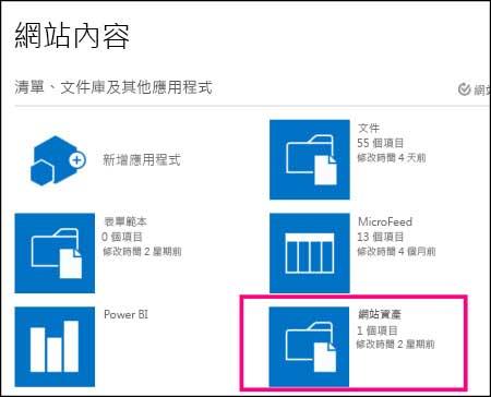 SharePoint Online 基本網站的 [網站內容] 頁面,醒目提示 [網站資產] 磚