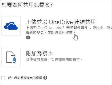顯示 [上傳並附加為 OneDrive 檔案] 選項的 [附件] 對話方塊螢幕擷取畫面。