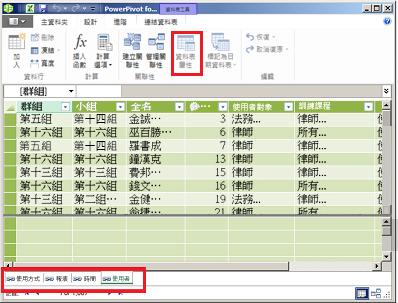 PowerPivot 索引標籤式視窗