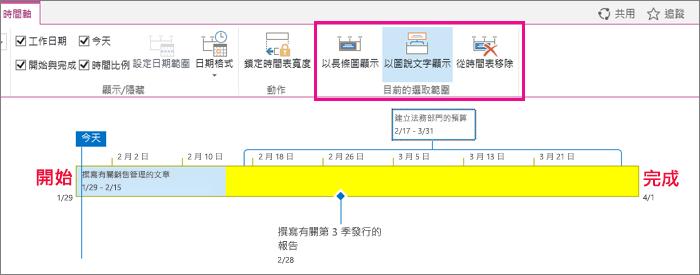 [任務時間表目前檢視] 區段時間表] 索引標籤上