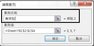 於 [數列名稱] 文字方塊中輸入圖例名稱,然後按一下 [確定]。