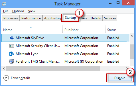Task Manager - Startup tab - Disable
