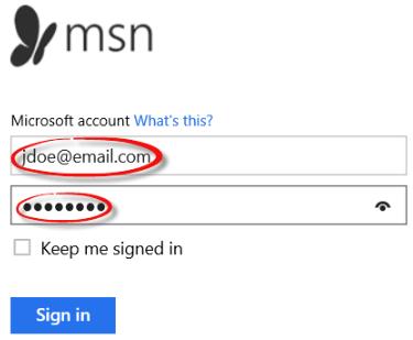 MSN sign in