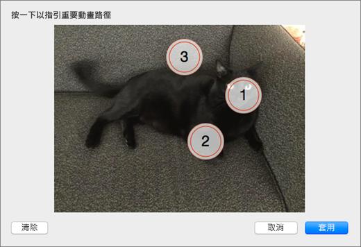 顯示多個編號的點,選取要在 PowerPoint 動畫背景中使用感興趣的相片。