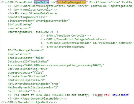 要刪除之 DeltaTopNavigation 程式碼的螢幕擷取畫面