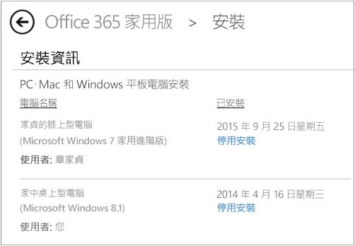[安裝] 頁面顯示已安裝 Office 的電腦名稱與人員名稱。