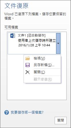 [文件復原] 窗格