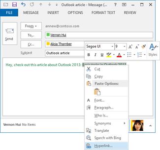 電子郵件訊息捷徑功能表中的超連結