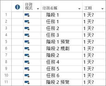 在新專案計劃中輸入自動排程任務的螢幕擷取畫面。