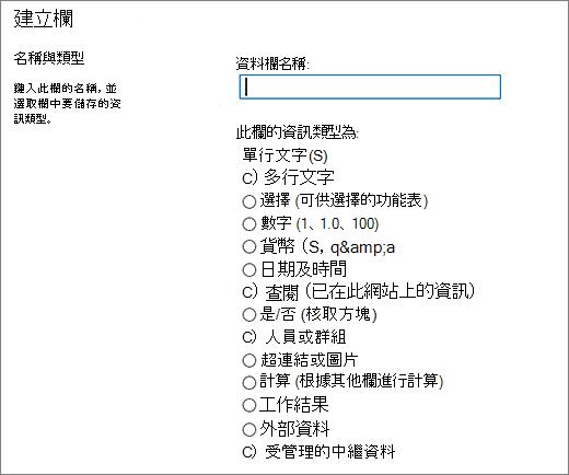 從 Sharepoint 2016 的欄類型的資料表