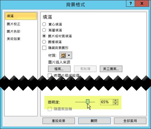 [背景格式] 對話方塊具有可用來調整影像的 [透明度] 滑桿