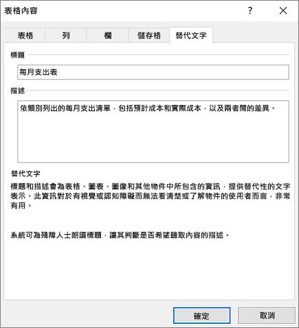 描述所選表格的 [表格內容] 對話方塊 [替代文字] 索引標籤之螢幕擷取畫面