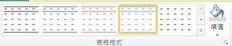 Publisher 2010 中的 [表格格式設定] 介面