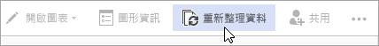 網頁公開預覽 [更新資料] 選項的 Visio