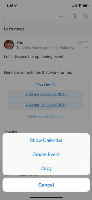 在行動裝置螢幕上顯示電子郵件。 底部有功能表選項:[顯示行事曆]、[建立活動]、[複製] 和 [取消]。