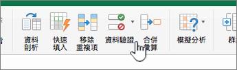 含有已選取 [資料驗證] 的 Excel 工具列資料功能表