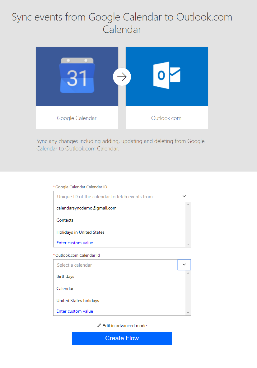 Create connections for Google to Outlook template.