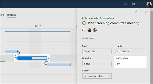 Planner 中 [時程表] 視圖的 [詳細資料] 窗格,顯示相依任務的進度