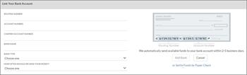 螢幕擷取畫面: 連結至預約銀行帳戶,藉由輸入銀行名稱]、 [路由] 及 [帳戶數字