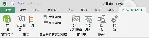 功能區中的 [PowerPivot] 索引標籤