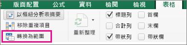 在 [表格] 索引標籤上選取 [轉換為範圍]