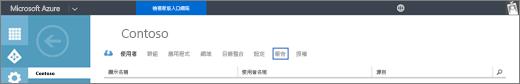 螢幕擷取畫面顯示 Contoso 組織的組織] 頁面。[報表] 選項會醒目提示。