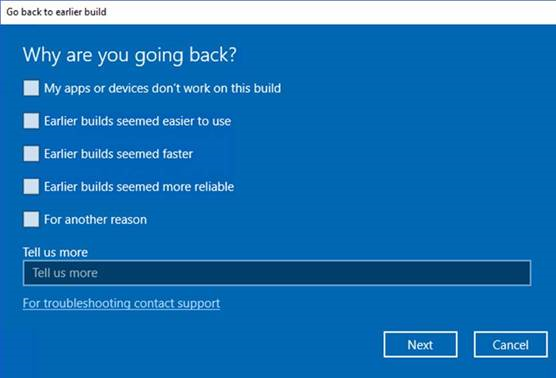 Windows 10 Recovery Why are you going back