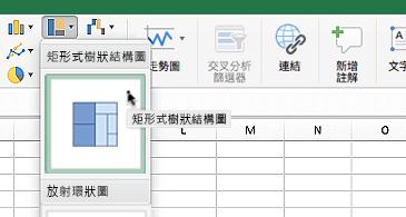 工作表中有顯示以下兩個選項的階層圖表下拉式清單方塊:矩形式樹狀結構圖及放射環狀圖