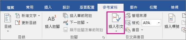 [參考資料] 索引標籤上醒目提示 [插入引文] 選項