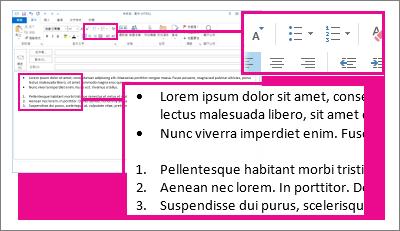 郵件中的編號及項目符號清單範例