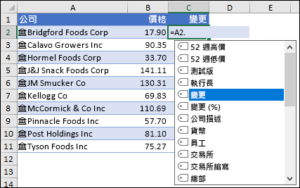 股票的連結資料類型