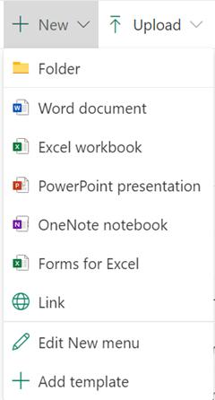 若要在文件庫中建立新檔案,請開啟 [新增] 功能表,然後選取您想要的檔案類型。