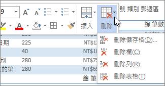 顯示 [刪除] 功能表的迷你工具列