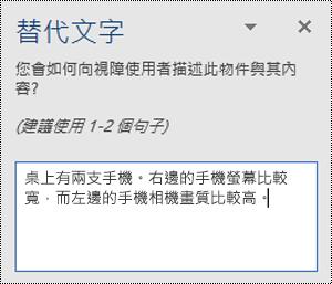 在 Windows 版 Word 中含有替代文字範例的 [替代文字] 窗格。
