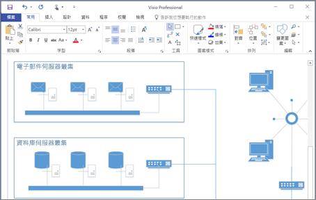 在 Visio 2016 中建立的圖表的螢幕擷取畫面。