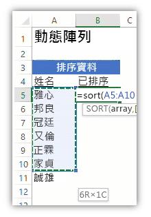 顯示資料清單和使用 SORT 函數的公式來排序清單的 Excel 工作表的螢幕擷取畫面。