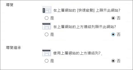 選擇 [否] 即可隱藏子網站的導覽。