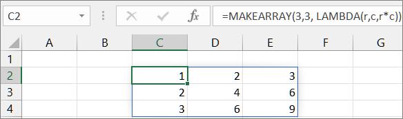 第一個 MAKEARRAY 函數範例