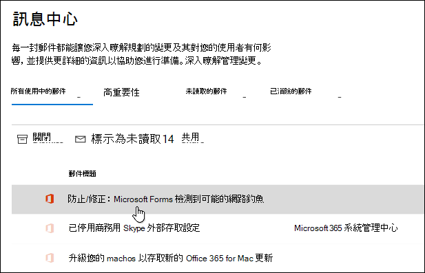 Microsoft 365 系統管理中心的訊息,關於 Microsoft Forms 網路釣魚檢測