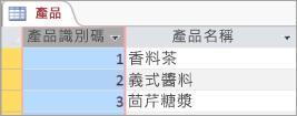 產品資料表的螢幕程式碼片段