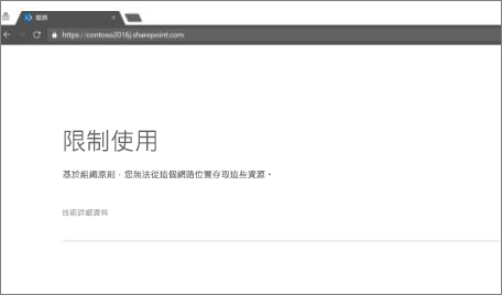 在瀏覽器中的限制存取訊息