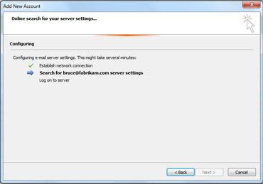 [新增帳戶] 對話方塊指出正在設定電子郵件伺服器設定