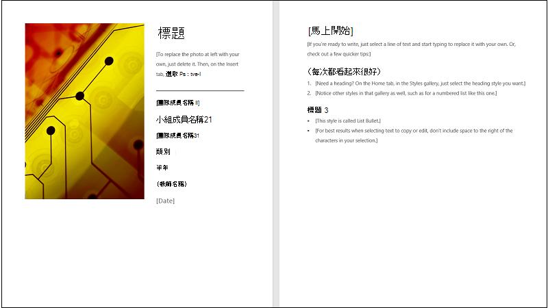 共同作業報表範本的封面圖例