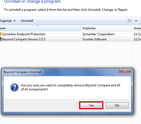 In the next message box, confirm the uninstall process by clicking on Yes.