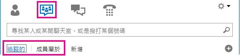 包含醒目提示 [成員屬於] 和 [追蹤的] 索引標籤的 Lync 主視窗聊天室檢視的螢幕擷取畫面