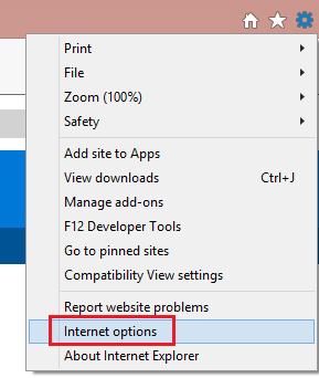 "On the web browser menu, click Tools or the ""Tools"" icon (which looks like a gear), and select Internet Options."