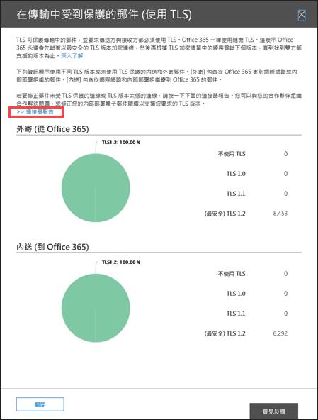 在 [Office 365 的安全性與規範中心 (依 TLS) 傳輸彈出式受保護的訊息