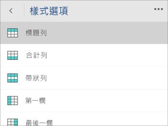 已選取 [標題列] 選項的 [樣式選項] 功能表之螢幕擷取畫面。